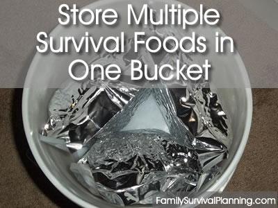 Store Multiple  Survival Foods in One Bucket